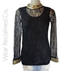 DESIGN HISTORY Black Lace and Gold Mock Neck Top